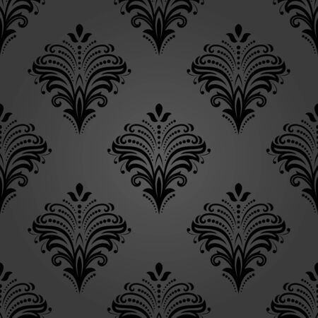 Floral ornament. Seamless abstract classic background with flowers. Pattern with repeating floral elements. Dark ornament for fabric, wallpaper and packaging 스톡 콘텐츠