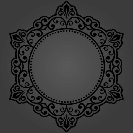Elegant vintage vector dark ornament in classic style. Abstract traditional black round pattern with oriental elements. Classic vintage pattern