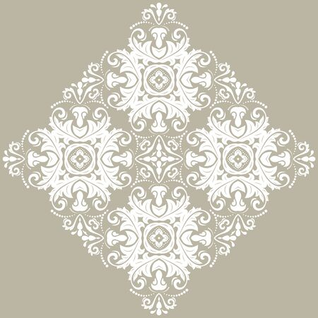 Elegant vintage vector white ornament in classic style. Abstract traditional pattern with white ornament. Classic vintage pattern Illusztráció