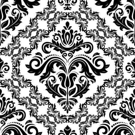 Orient vector classic pattern. Seamless abstract background with vintage elements. Orient background. Black and white ornament for wallpaper and packaging Çizim
