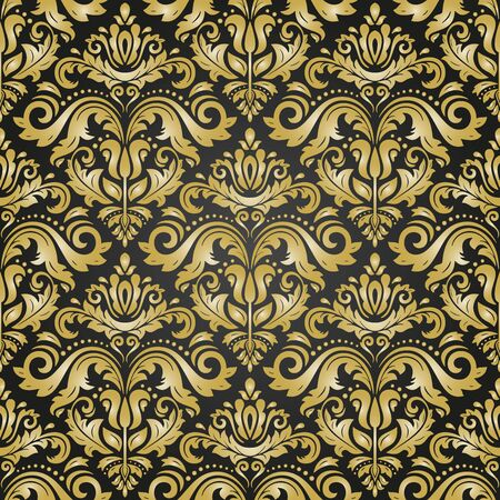 Orient vector classic black and golden pattern. Seamless abstract background with vintage elements. Orient background. Ornament for wallpaper and packaging 版權商用圖片 - 131691478