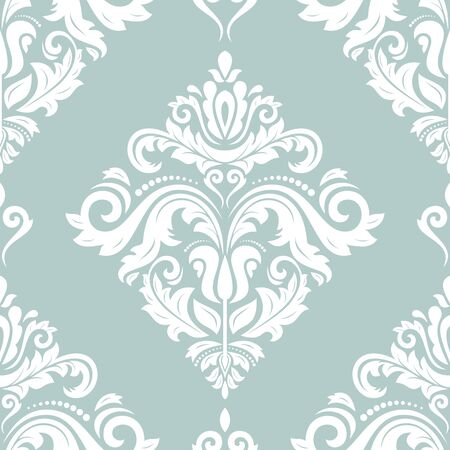 Orient vector classic pattern. Seamless abstract background with white vintage elements. Orient background. Ornament for wallpaper and packaging