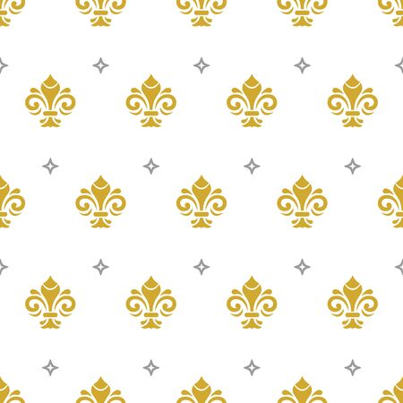 Seamless vector pattern. Modern geometric ornament with golden royal lilies and silver stars. Classic vintage background