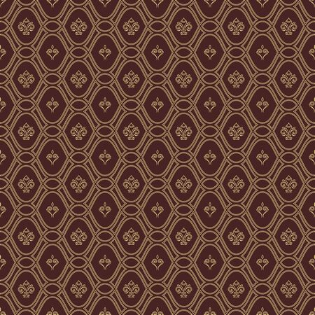 Seamless vector brown and golden pattern. Modern geometric ornament with golden royal lilies. Classic vintage background