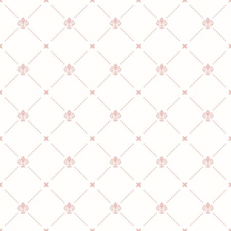 Seamless vector pattern. Modern geometric ornament with light pink royal lilies. Classic vintage background Çizim