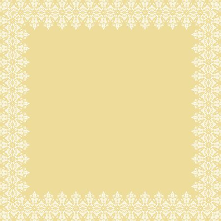 Classic square frame with arabesques and orient elements. Abstract ornament with place for text. Vintage yellow and white pattern 写真素材
