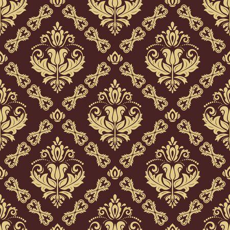 Orient vector classico modello marrone e dorato. Sfondo astratto senza soluzione di continuità con elementi vintage. Orienta lo sfondo. Ornamento per carta da parati e confezione Vettoriali