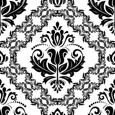 Classic seamless vector pattern. Damask orient ornament. Classic vintage background. Orient black and white ornament for fabric, wallpaper and packaging