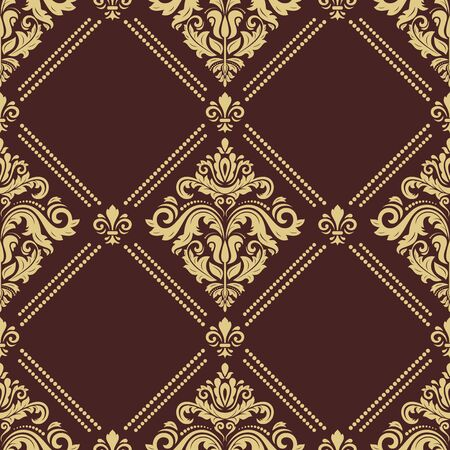 Classic seamless pattern. Damask orient ornament. Classic vintage background. Orient brown and golden ornament for fabric, wallpaper and packaging
