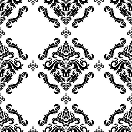 Classic seamless pattern. Damask orient ornament. Classic vintage black and white background. Orient ornament for fabric, wallpaper and packaging