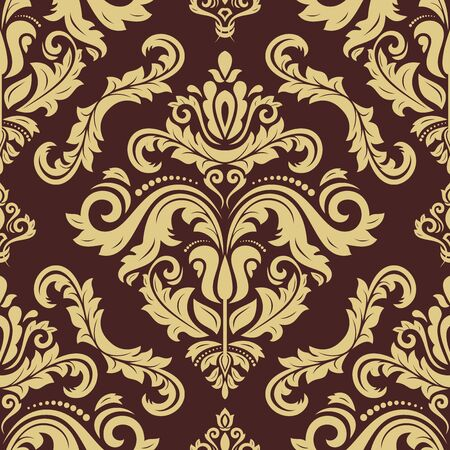 Classic seamless pattern. Damask orient brown and golden ornament. Classic vintage background. Orient ornament for fabric, wallpaper and packaging