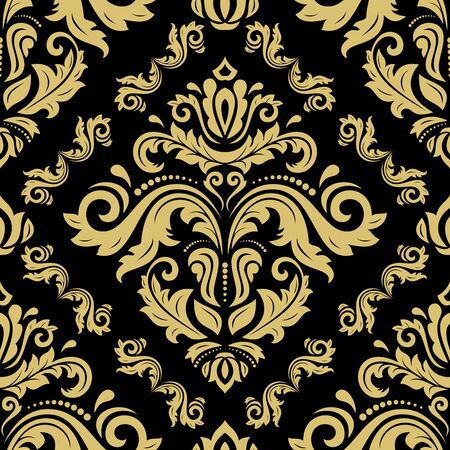 Classic seamless pattern. Damask orient ornament. Classic vintage background. Orient golden ornament for fabric, wallpaper and packaging 스톡 콘텐츠