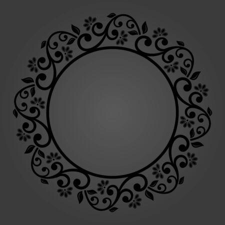 Élégant vecteur vintage rond ornement noir dans un style classique Motif traditionnel abstrait avec des éléments orientaux. Motif vintage classique Vecteurs
