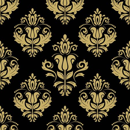 Oriental vector fine texture with damask and floral elements. Seamless abstract background. Black and golden pattern Vettoriali
