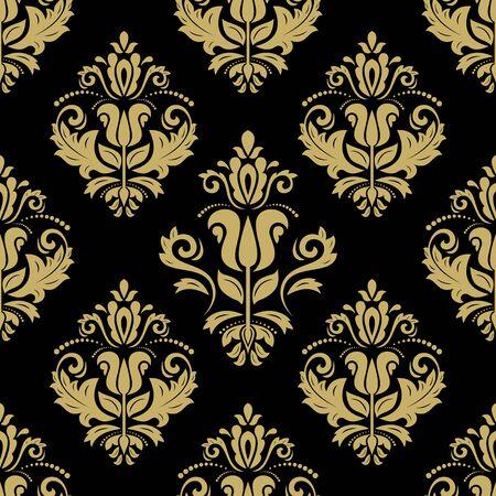 Orientalische Vektorfeinstruktur mit Damast und floralen Elementen. Nahtloser abstrakter Hintergrund. Schwarzes und goldenes Muster Vektorgrafik