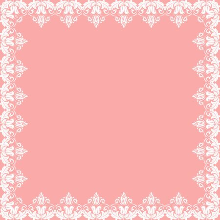Classic vector square frame with arabesques and orient elements. Abstract pink and white ornament with place for text. Vintage pattern Illusztráció