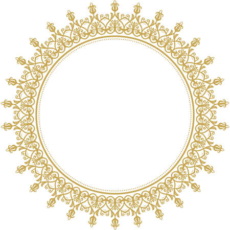 Elegant vintage vector ornament in classic style. Abstract traditional round golden pattern with oriental elements. Classic vintage pattern  イラスト・ベクター素材
