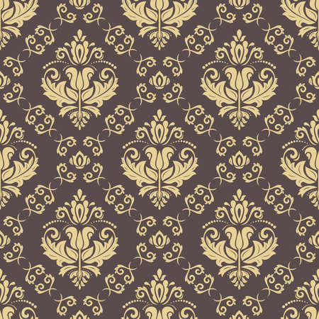 Orient vector classic brown and golden pattern. Seamless abstract background with vintage elements. Orient background. Ornament for wallpaper and packaging