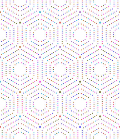 Geometric repeating ornament with hexagonal dotted colored elements. Geometric modern ornament. Seamless abstract modern pattern