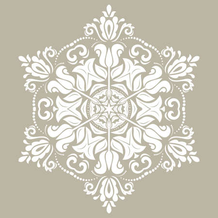 Oriental vector round white pattern with arabesques and floral elements. Traditional classic white ornament. Vintage pattern with arabesques
