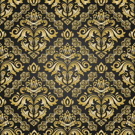 Orient vector classic pattern. Seamless abstract background with vintage elements. Orient background. Black and golden ornament for wallpaper and packaging Vettoriali