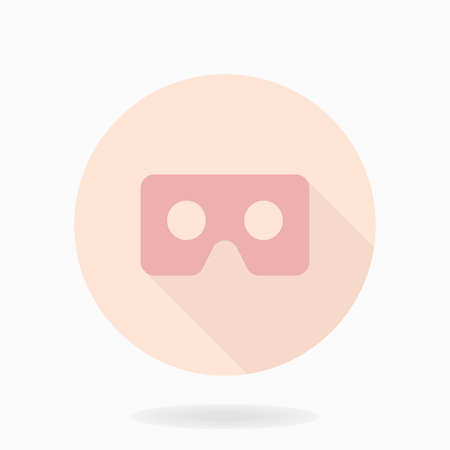 Fine vector icon with VR icon in circle. Flat design with long shadow. Virtual reality pink icon