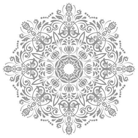 Elegant vintage vector ornament in classic style. Abstract traditional gray pattern with oriental elements. Classic vintage pattern
