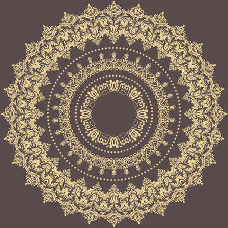 Oriental vector round golden pattern with arabesques and floral elements. Traditional classic ornament. Vintage pattern with arabesques Vectores