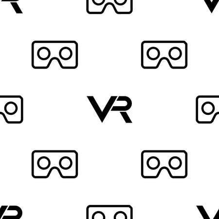 Seamless pattern with VR logos. Virtual reality black and white logos