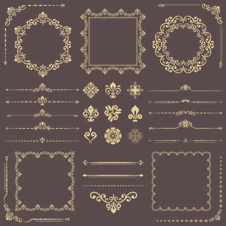 Vintage set of horizontal, square and round elements. Different elements for design, frames, cards, menus, backgrounds and monograms. Classic golden patterns. Set of vintage patterns 版權商用圖片