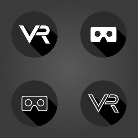 Black and white vector icons with VR logo in circle. Set of flat icons with long shadow. Virtual reality logos