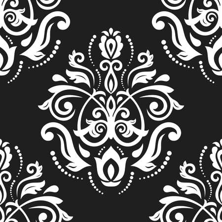 Classic seamless vector pattern. Damask orient black and white ornament. Classic vintage background. Orient ornament for fabric, wallpaper and packaging