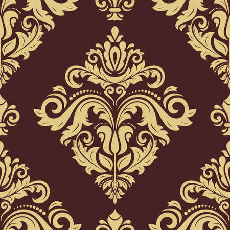 Orient vector classic pattern. Seamless abstract brown and golden background with vintage elements. Orient background. Ornament for wallpaper and packaging Vectores