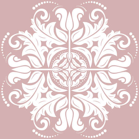 Oriental vector pattern with arabesques and floral elements. Traditional classic purple and white ornament. Vintage pattern with arabesques