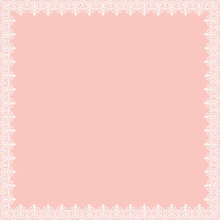 Classic vector square frame with arabesques and orient elements. Abstract pink and white ornament with place for text. Vintage pattern Ilustrace