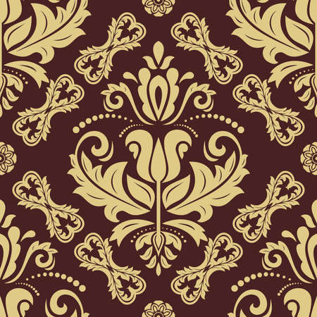 Classic seamless vector pattern. Damask orient brown and golden ornament. Classic vintage background. Orient ornament for fabric, wallpaper and packaging