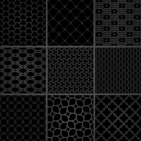 Set of vector seamless geometric patterns for your designs and backgrounds. Geometric abstract ornament. Modern ornaments with black elements