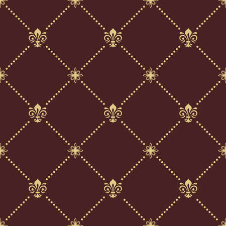 Seamless vector pattern. Modern geometric ornament with royal lilies. Classic vintage brown and golden background