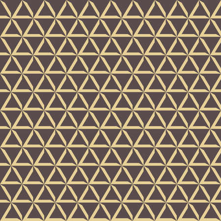 Geometric vector pattern with triangles. Geometric modern brown and golden ornament. Seamless abstract background