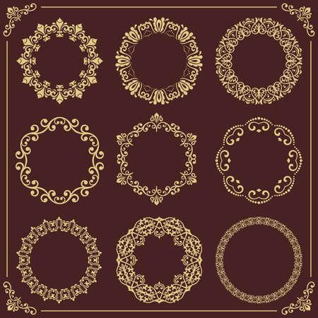 Vintage set of vector round elements. Golden elements for design frames, cards, menus, backgrounds and monograms. Classic patterns. Set of golden patterns