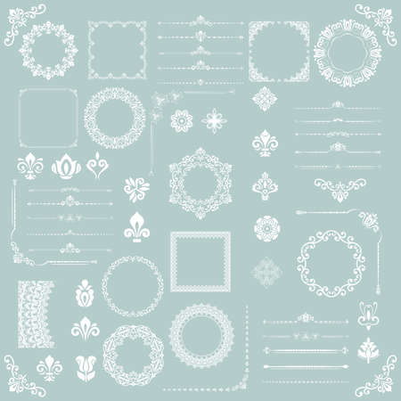 Vintage set of vector horizontal, square and round elements. White elements for backgrounds, frames and monograms. Classic patterns. Set of vintage patterns 向量圖像