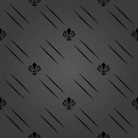 Seamless vector dark pattern. Modern geometric ornament with black royal lilies. Classic vintage background 向量圖像