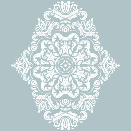 Oriental vector white pattern with arabesques and floral elements. Traditional classic white ornament. Vintage pattern with arabesques
