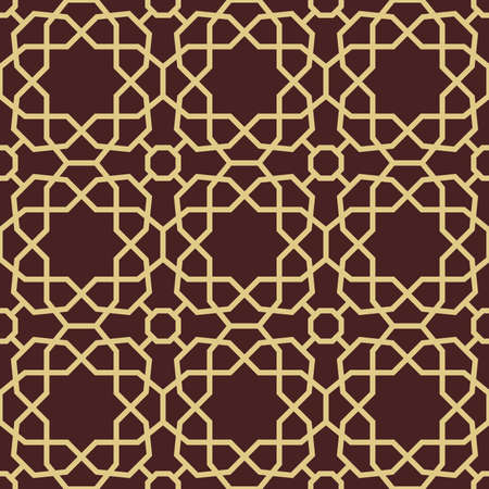 Seamless vector brown and golden ornament in arabian style. Geometric abstract background. Pattern for wallpapers and backgrounds