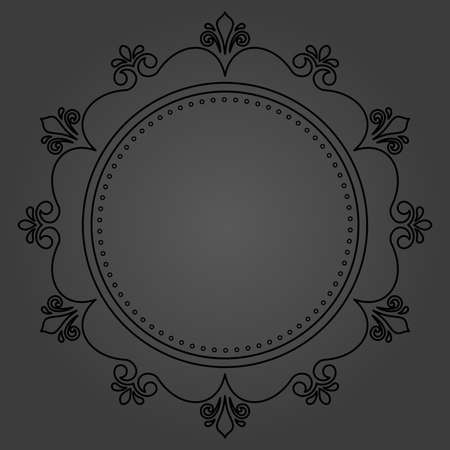 Elegant vintage vector round black ornament in classic style. Abstract traditional pattern with oriental elements. Classic vintage dark pattern