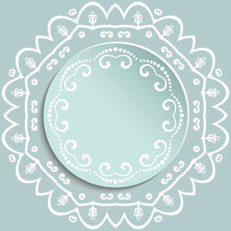 Round vector frame with floral elements and arabesques. Light blue and white pattern with arabesques. Fine greeting card