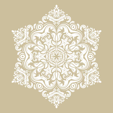 Elegant vintage vector ornament in classic style. Abstract traditional round white pattern with oriental elements. Classic vintage pattern 向量圖像