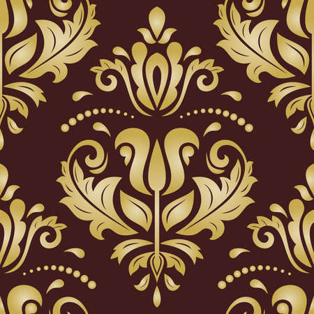 Orient vector classic brown and golden pattern. Seamless abstract background with vintage elements. Orient brown and golden background. Ornament for wallpaper and packaging