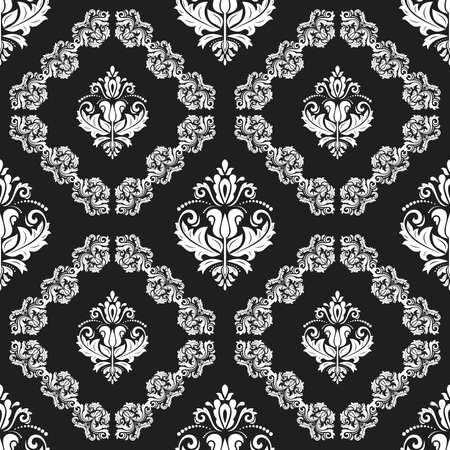 Orient vector classic dark pattern. Seamless abstract background with vintage elements. Orient background. Black and white ornament for wallpaper and packaging