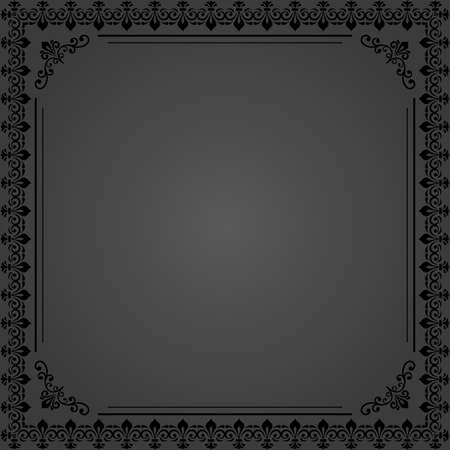 Classic vector square frame with arabesques and orient elements. Abstract ornament with place for text. Vintage dark pattern 向量圖像